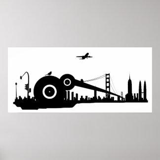 Poster del avión de la ciudad del gorrión
