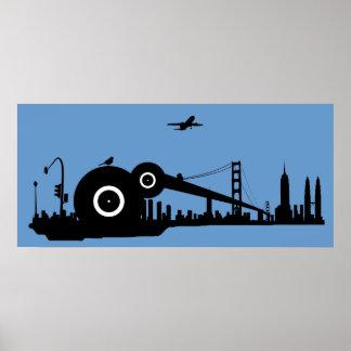 Poster del avión de la ciudad del gorrión - azul