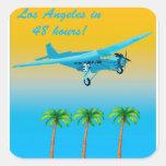 Poster del avión de pasajeros del vintage pegatina cuadrada