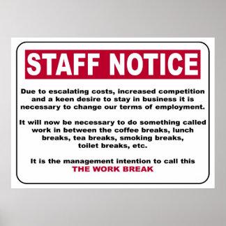 Poster del aviso del personal