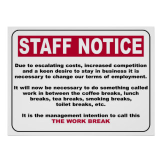 Poster del aviso del personal póster