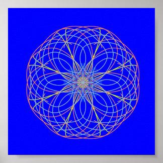 Poster del azul de la bola de la energía del arte