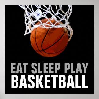Poster del baloncesto de Eat Sleep Play -