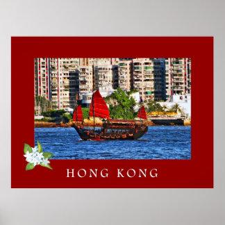 Poster del barco de los desperdicios de Hong Kong