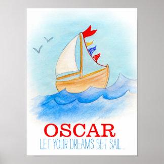 Poster del barco de navegación del cuarto de niños