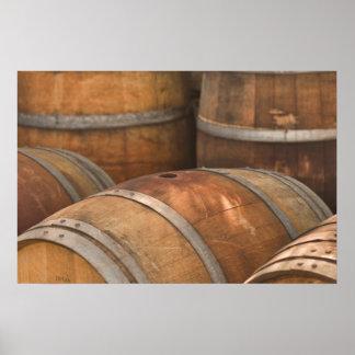 Poster del barril de vino del roble