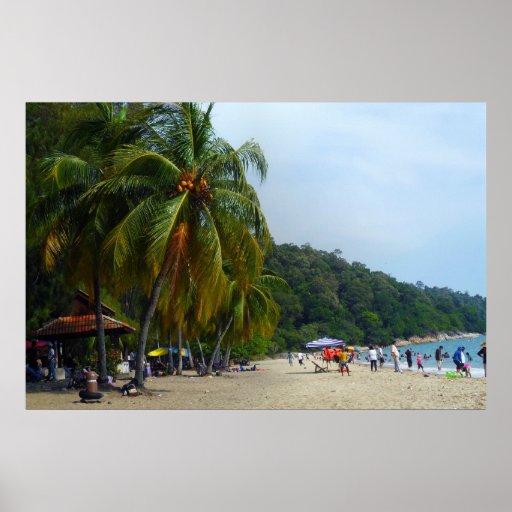 Poster del batik de Teluk de la escena de la playa