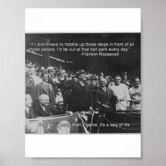 Poster del béisbol de Franklin Roosevelt