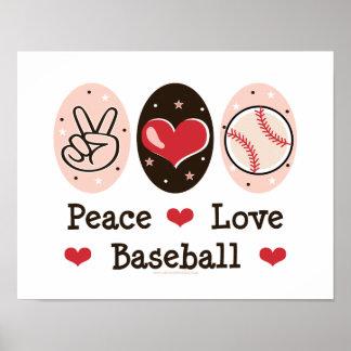 Poster del béisbol del amor de la paz póster