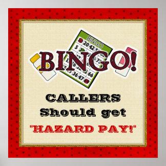 Poster del bingo de la paga del peligro
