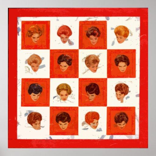 Poster del bingo del color del pelo