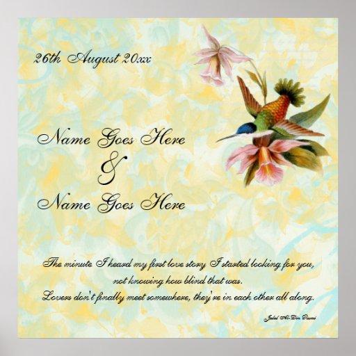 Poster del boda del colibrí del vintage