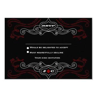 """Poster del boda del rock-and-roll (negro/rojo) invitación 3.5"""" x 5"""""""