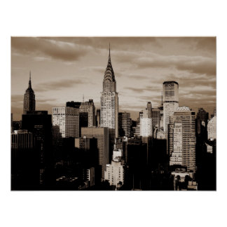 Poster del bosquejo de la tinta de New York City d