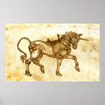Poster del bosquejo del unicornio de Steampunk