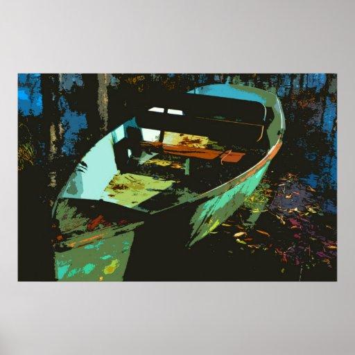 Poster del bote de remos del lago autumn