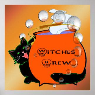 Poster del Brew de las brujas del gato negro Póster