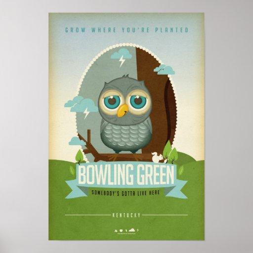 Poster del búho de Bowling Green Kentucky