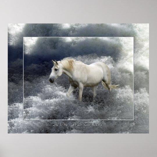 Poster del caballo blanco de la fantasía y de la póster