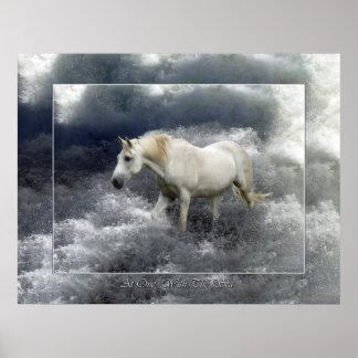 Poster del caballo blanco de la fantasía y de la r