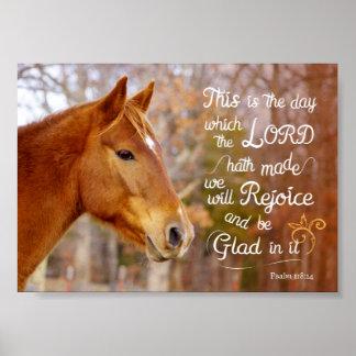 Poster del caballo de la castaña del verso de la