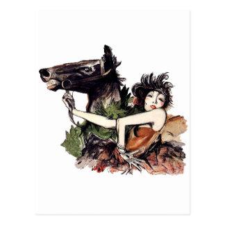 Poster del caballo de la época de la belleza del v tarjeta postal