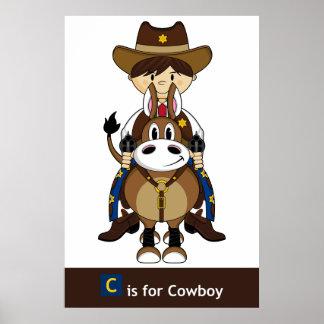 Poster del caballo de montar a caballo del vaquero