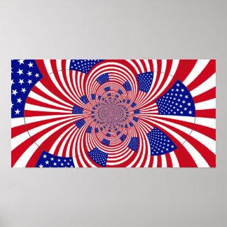 Poster del caleidoscopio de la bandera americana