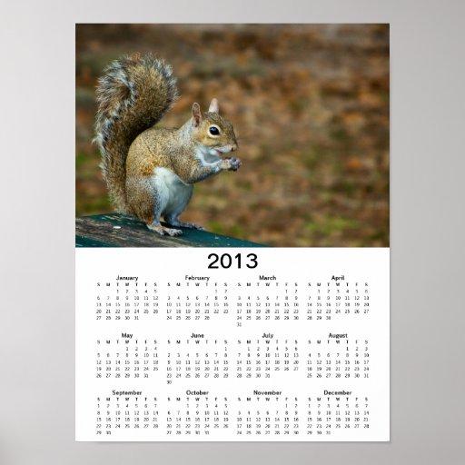 Poster del calendario de la foto 2013 de la ardill