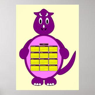 Poster del calendario del dinosaurio de 2011 púrpu