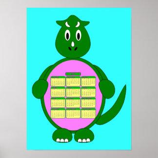 Poster del calendario del dinosaurio verde 2011