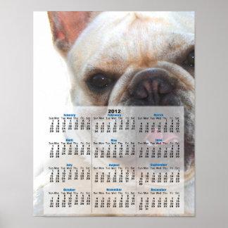 Poster del calendario del dogo francés 2012