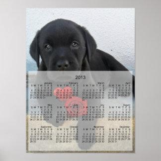 Poster del calendario del perrito 2013 de Labrador