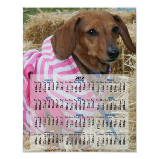 Poster del calendario del perro 2012 del Dachshund