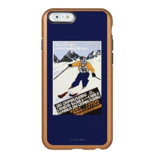 Poster del campeonato del esquí del dominio funda para iPhone 6 plus incipio feather shine