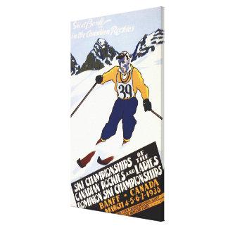 Poster del campeonato del esquí del dominio impresión en tela
