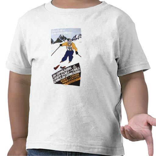 Poster del campeonato del esquí del dominio camisetas
