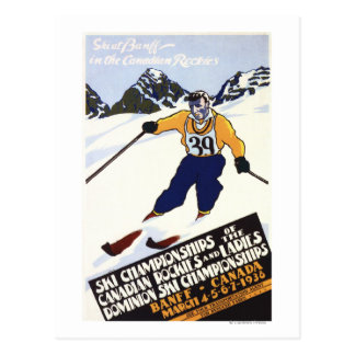 Poster del campeonato del esquí del dominio tarjetas postales
