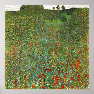 Poster del campo de la amapola de Gustavo Klimt
