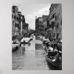 Poster del canal de Venecia blanco y negro
