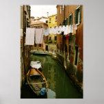 Poster del canal del lavadero de Venecia Italia Póster
