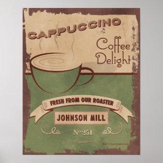 poster del Cappuccino del Vintage-estilo