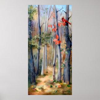 Poster del cardenal de la trayectoria de las natur