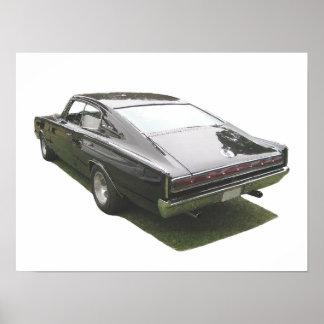 Poster del cargador de Dodge del negro 1967