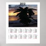 Poster del Caribe del calendario de la puesta del