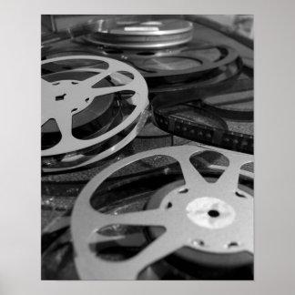 Poster del carrete de la película y de la película