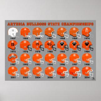 Poster del casco de fútbol americano de los dogos