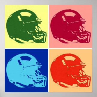 Poster del casco de fútbol americano del arte pop