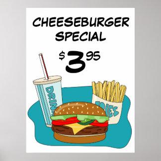 Poster del cheeseburger con las fritadas y la bebi