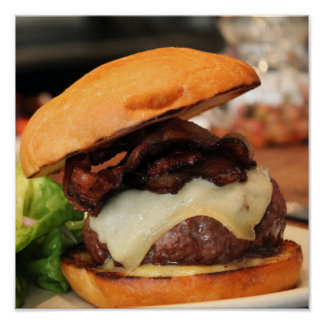 Poster del cheeseburger del tocino